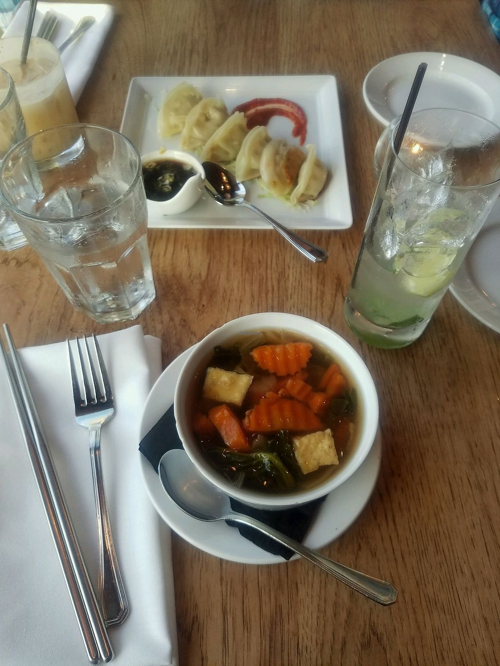 "Photo of Green Elephant Vegetarian Bistro & Bar  by <a href=""/members/profile/ehubert"">ehubert</a> <br/>Vegetable soup and dumplings <br/> November 2, 2017  - <a href='/contact/abuse/image/64198/321284'>Report</a>"