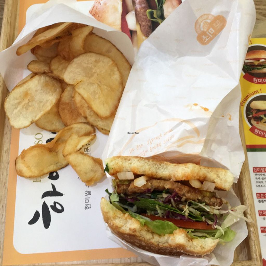 """Photo of Rice Burger Himiso - 하이미소  by <a href=""""/members/profile/ChristineLee"""">ChristineLee</a> <br/>half eaten salad burger + fries  <br/> June 8, 2016  - <a href='/contact/abuse/image/64200/152810'>Report</a>"""