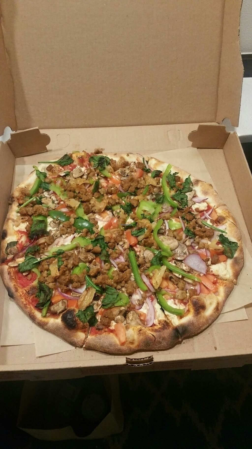 "Photo of Piaza Fresh  by <a href=""/members/profile/12SaRaH73"">12SaRaH73</a> <br/>Daiya Cheese, Vegan crumbles, tomatoes, red onions, green peppers, mushrooms, spinach, roasted garlic cloves <br/> May 28, 2017  - <a href='/contact/abuse/image/64237/263214'>Report</a>"