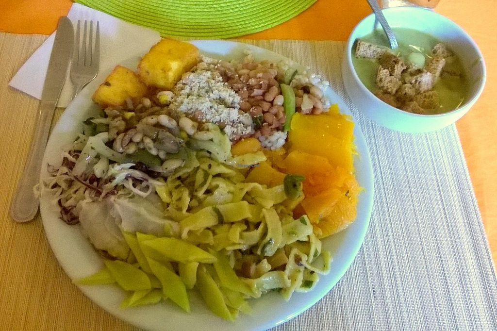 """Photo of Trigais  by <a href=""""/members/profile/bruno.assaz"""">bruno.assaz</a> <br/>Delicious vegan lunch at Trigais on May 21th, 2016 - paid R$ 28.50 for it, including a soup, a juice and dessert <br/> June 4, 2016  - <a href='/contact/abuse/image/64276/152292'>Report</a>"""