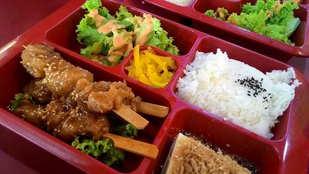 """Photo of CLOSED: Vegan Paradise Food Stall  by <a href=""""/members/profile/Peace%20..."""">Peace ...</a> <br/>Yakitori Bento Set @ S$6.9 <br/> December 31, 2015  - <a href='/contact/abuse/image/64318/130550'>Report</a>"""
