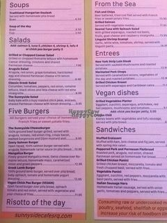 """Photo of Sunnyside Cafe  by <a href=""""/members/profile/AndreaPassini"""">AndreaPassini</a> <br/>The menu has some vegan dishes! And also a chickpea patty under 'burgers' <br/> October 11, 2016  - <a href='/contact/abuse/image/64324/181283'>Report</a>"""