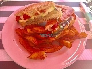 """Photo of Sunnyside Cafe  by <a href=""""/members/profile/AndreaPassini"""">AndreaPassini</a> <br/>Vegetable panini (NOT VEGAN!!) is eggplant, zucchini, red peppers, mozzarella with basil pesto and served with fries <br/> October 11, 2016  - <a href='/contact/abuse/image/64324/181285'>Report</a>"""
