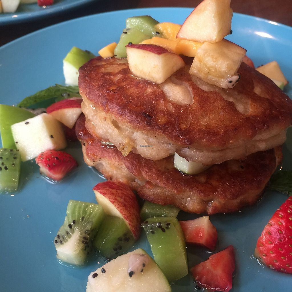 """Photo of Broccoli Revolution - Sukhumvit Rd  by <a href=""""/members/profile/JaqVeganWriter"""">JaqVeganWriter</a> <br/>GF/Vegan Breakfast Pancakes (available from 7am-12nn) <br/> February 16, 2018  - <a href='/contact/abuse/image/64334/359951'>Report</a>"""