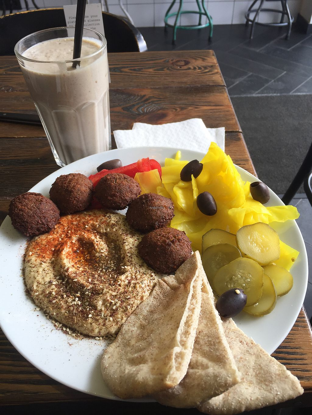 "Photo of Zatar Falafel & Hummus  by <a href=""/members/profile/KatM13"">KatM13</a> <br/>Hummus plate and Silky Smoothie <br/> March 16, 2018  - <a href='/contact/abuse/image/64339/371275'>Report</a>"