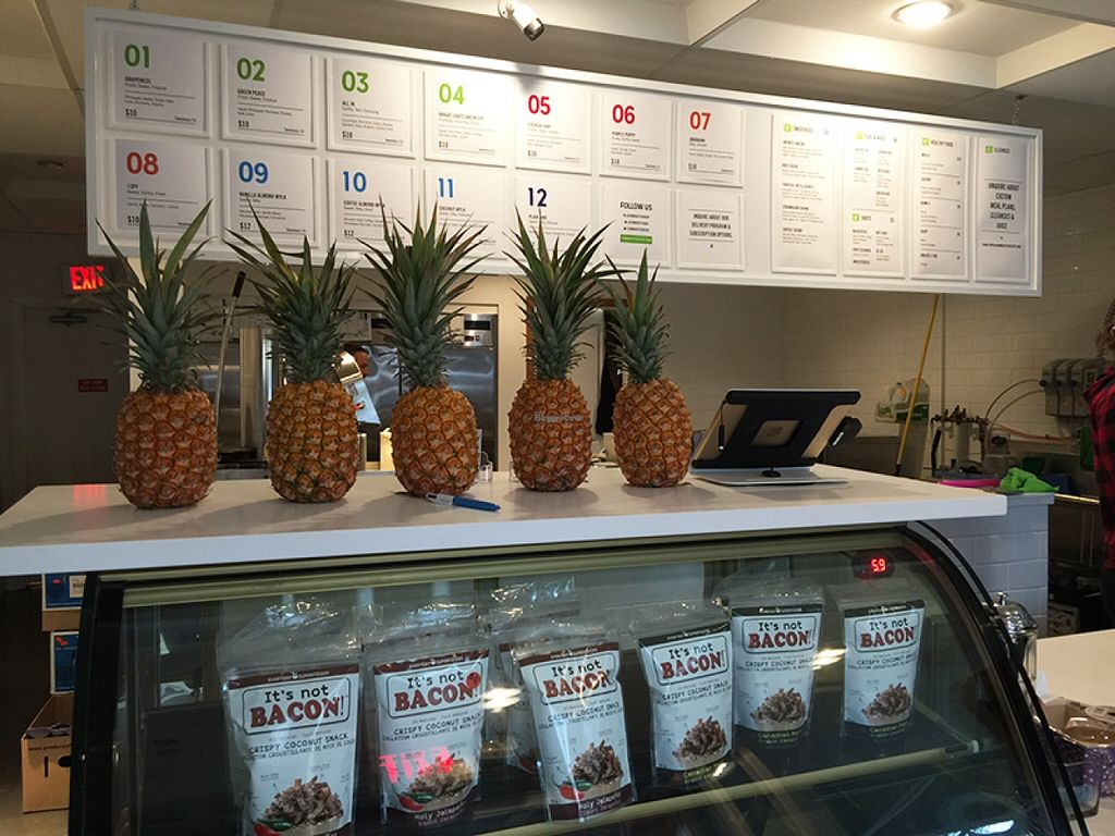 """Photo of Commodity Juicery  by <a href=""""/members/profile/Wheat-free%20Vegan"""">Wheat-free Vegan</a> <br/>Menu and juice bar at Commodity Juicery <br/> November 12, 2015  - <a href='/contact/abuse/image/64357/124780'>Report</a>"""
