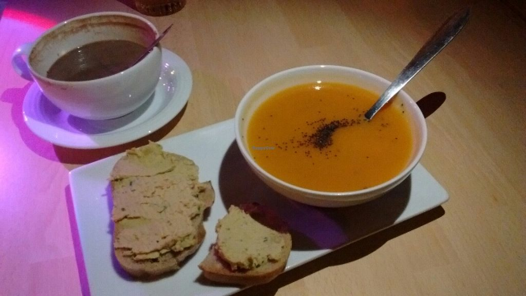 """Photo of Liquium  by <a href=""""/members/profile/DedouLucile"""">DedouLucile</a> <br/>Sweet potato soup with hummus toast, and soy hot chocolate <br/> January 13, 2016  - <a href='/contact/abuse/image/64367/132256'>Report</a>"""