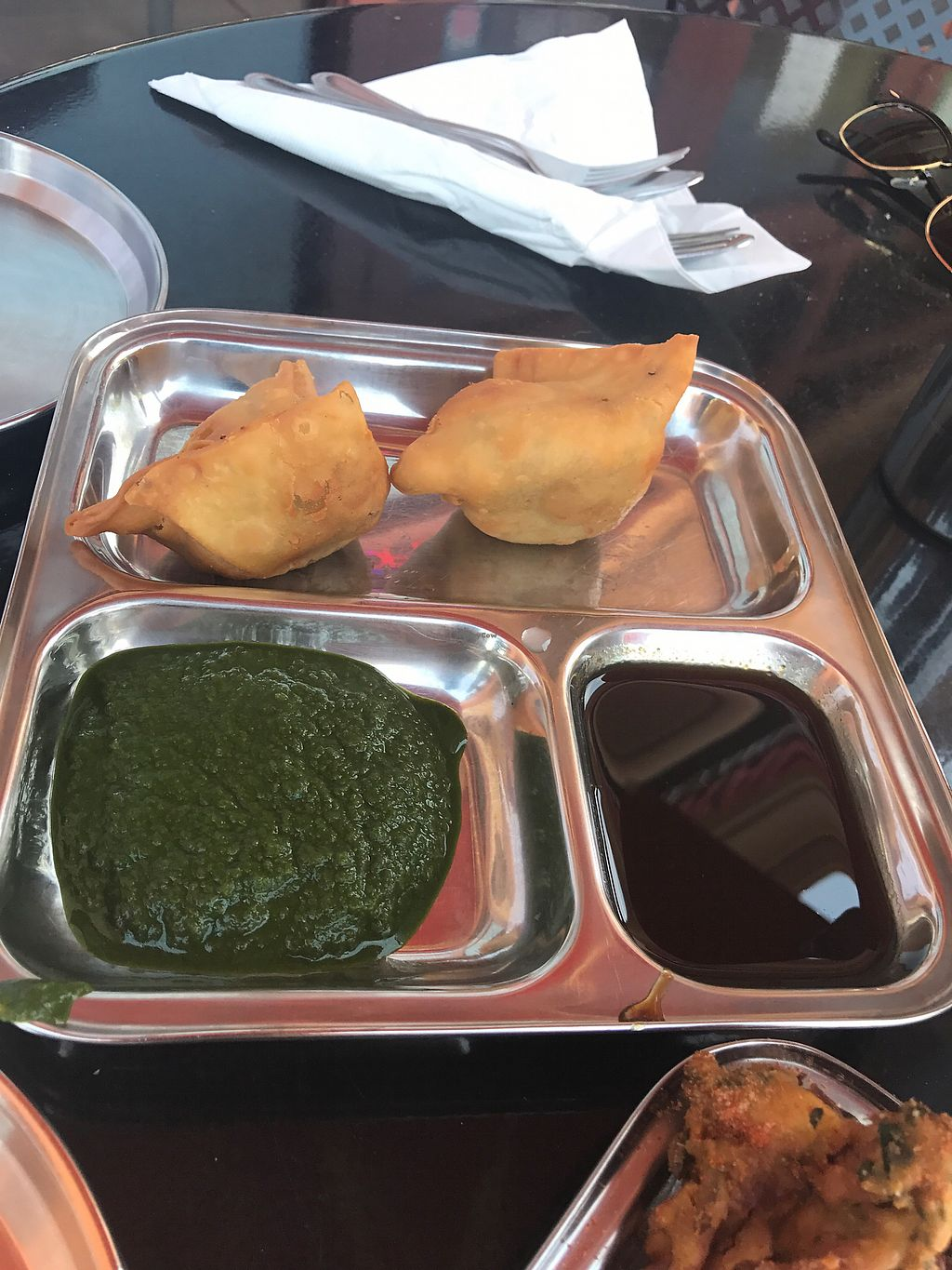 """Photo of Chaat Paradise  by <a href=""""/members/profile/Breda"""">Breda</a> <br/>vegan samosas <br/> August 13, 2017  - <a href='/contact/abuse/image/64385/292177'>Report</a>"""