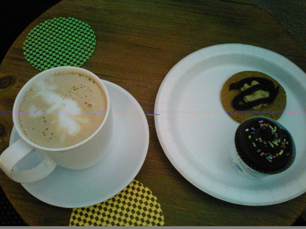 """Photo of New Leaf Elementals  by <a href=""""/members/profile/tmchin"""">tmchin</a> <br/>Vegan Cappuccino with Chocolate Muffin & Peanut Butter Cookie <br/> October 18, 2015  - <a href='/contact/abuse/image/64393/121796'>Report</a>"""