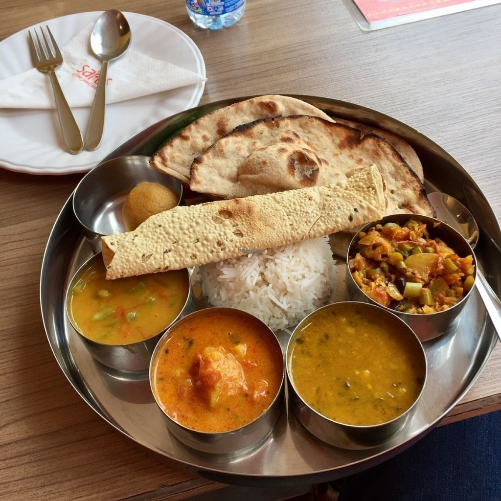 """Photo of Saras 2Go  by <a href=""""/members/profile/peterstuckings"""">peterstuckings</a> <br/>The North Indian Thali set lunch, adapted for vegan.  <br/> November 3, 2016  - <a href='/contact/abuse/image/64446/186296'>Report</a>"""