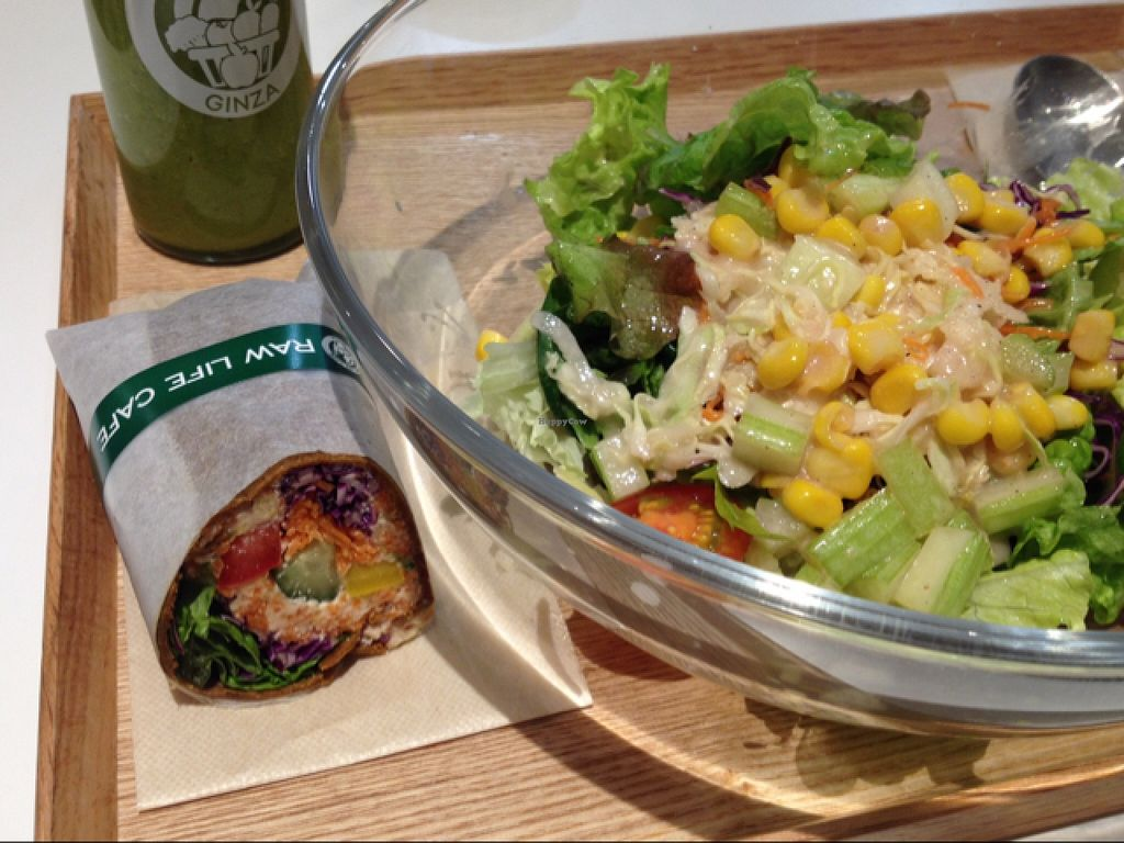 "Photo of CLOSED: Ginza Raw Life Cafe  by <a href=""/members/profile/martagreen"">martagreen</a> <br/>'Green/yellow' smoothie, 'orange' wrap, and French salad <br/> January 28, 2016  - <a href='/contact/abuse/image/64451/134020'>Report</a>"