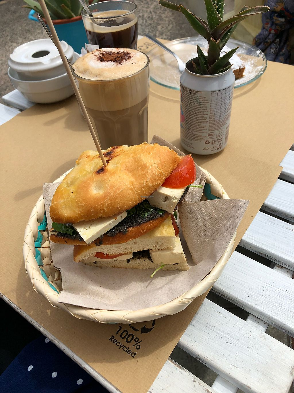 "Photo of H2O Juice Bar & Vegan Cafe  by <a href=""/members/profile/mmarta"">mmarta</a> <br/>Tofu sandwich and cappuccino  <br/> April 9, 2018  - <a href='/contact/abuse/image/64475/383003'>Report</a>"
