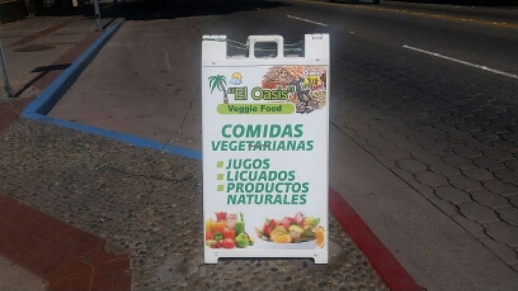 """Photo of CLOSED: El Oasis Veggie Food  by <a href=""""/members/profile/kenvegan"""">kenvegan</a> <br/>outside sign  <br/> October 14, 2015  - <a href='/contact/abuse/image/64492/121341'>Report</a>"""