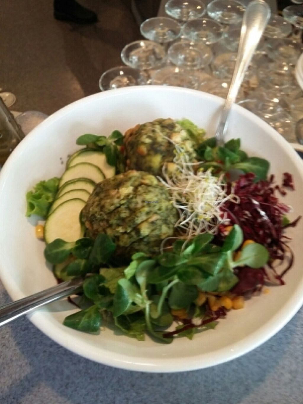 """Photo of Alte Muhle  by <a href=""""/members/profile/martins.diary"""">martins.diary</a> <br/>kamut dumplings with spinach and a winter bed of lettuce <br/> January 7, 2016  - <a href='/contact/abuse/image/64497/131363'>Report</a>"""
