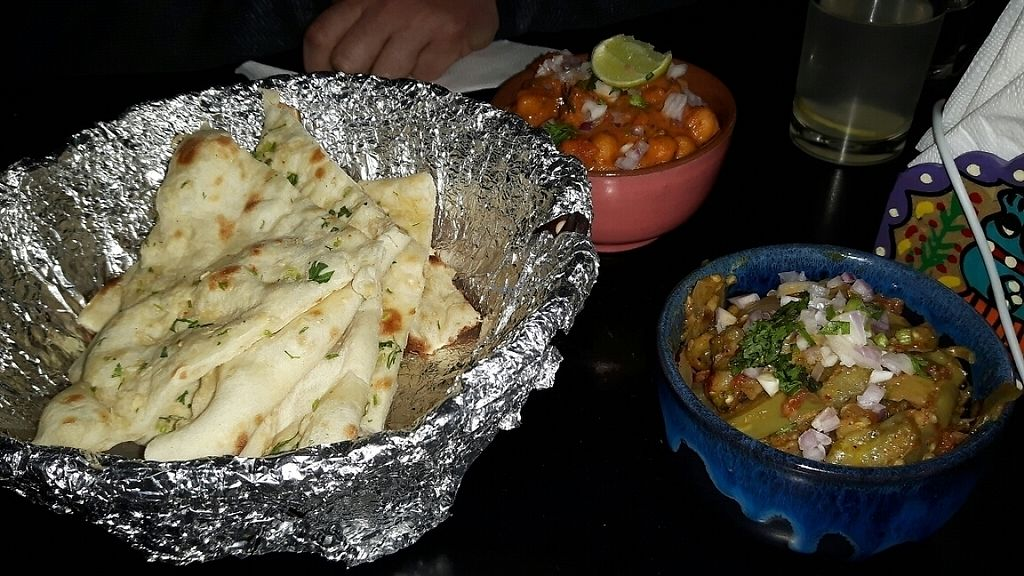 """Photo of Aniyor Vegetarian Restaurant  by <a href=""""/members/profile/mostlyvegan75"""">mostlyvegan75</a> <br/>Chana masala and garlic naan  <br/> March 30, 2017  - <a href='/contact/abuse/image/64501/242675'>Report</a>"""