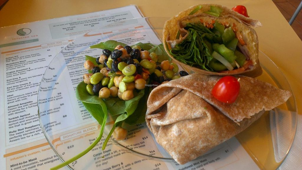 """Photo of InfusionTea  by <a href=""""/members/profile/Vegbunny"""">Vegbunny</a> <br/>Vegan hummus and veggie wrap <br/> November 10, 2014  - <a href='/contact/abuse/image/6450/85160'>Report</a>"""