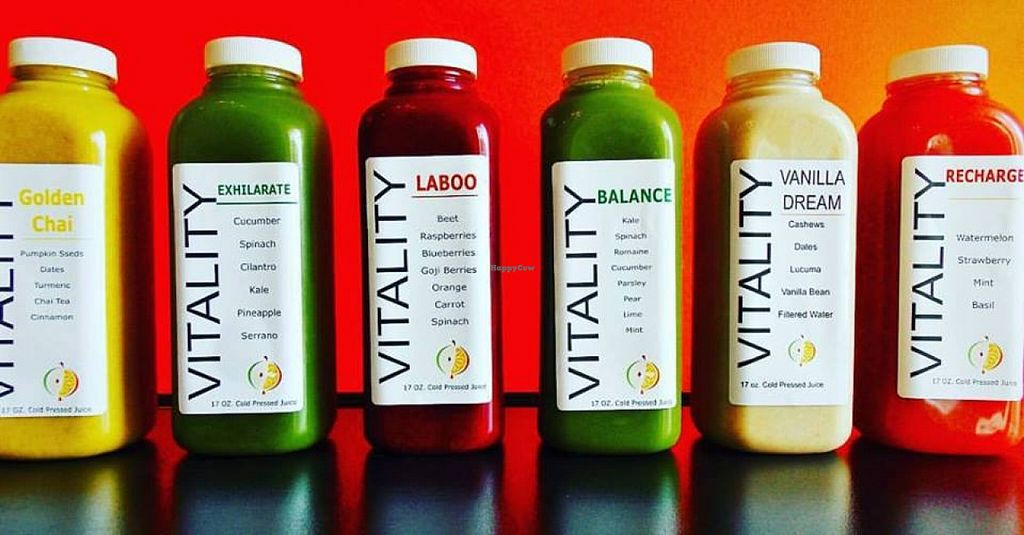 """Photo of Vitality Smoothie & Juice Bar  by <a href=""""/members/profile/community"""">community</a> <br/>fresh juices  <br/> October 22, 2015  - <a href='/contact/abuse/image/64511/122119'>Report</a>"""