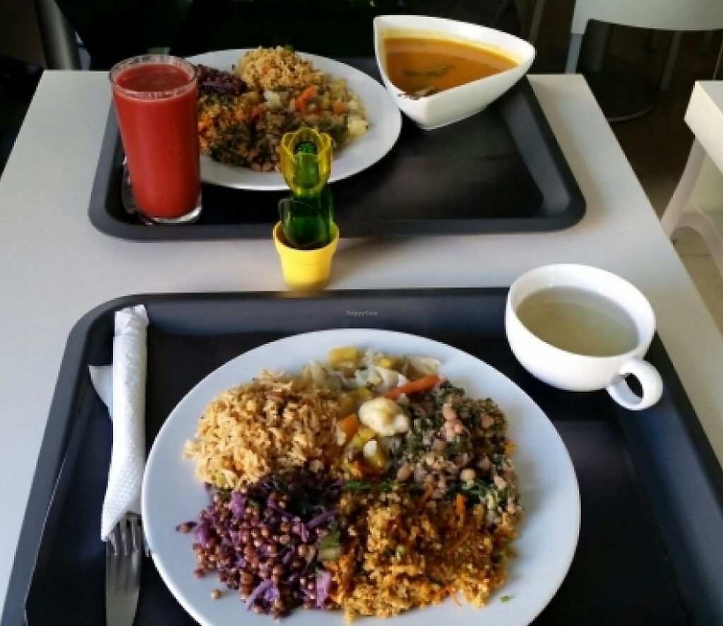 """Photo of Escolha Natura  by <a href=""""/members/profile/mbbl"""">mbbl</a> <br/>Big plate with three daily options, soup, salad,  fresh juice and free tea  <br/> November 26, 2015  - <a href='/contact/abuse/image/64532/241370'>Report</a>"""
