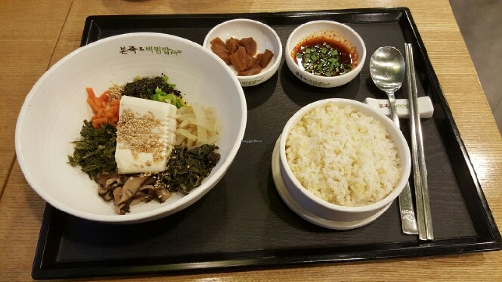 """Photo of Bonjuk and Bibimbap - 본죽&비빔밥café  by <a href=""""/members/profile/leesujeong"""">leesujeong</a> <br/>연두비빔밥 Soft Tofu Bibimbap (Vegan if you don't eat the kimchi or broth - not pictured and does not come with an egg) <br/> November 12, 2015  - <a href='/contact/abuse/image/64618/124722'>Report</a>"""