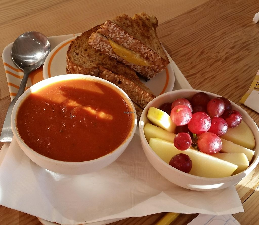 "Photo of Next Level Burger  by <a href=""/members/profile/katypine"">katypine</a> <br/>kid's meal: grilled cheese, tomato soup, and fruit <br/> October 24, 2015  - <a href='/contact/abuse/image/64640/221653'>Report</a>"