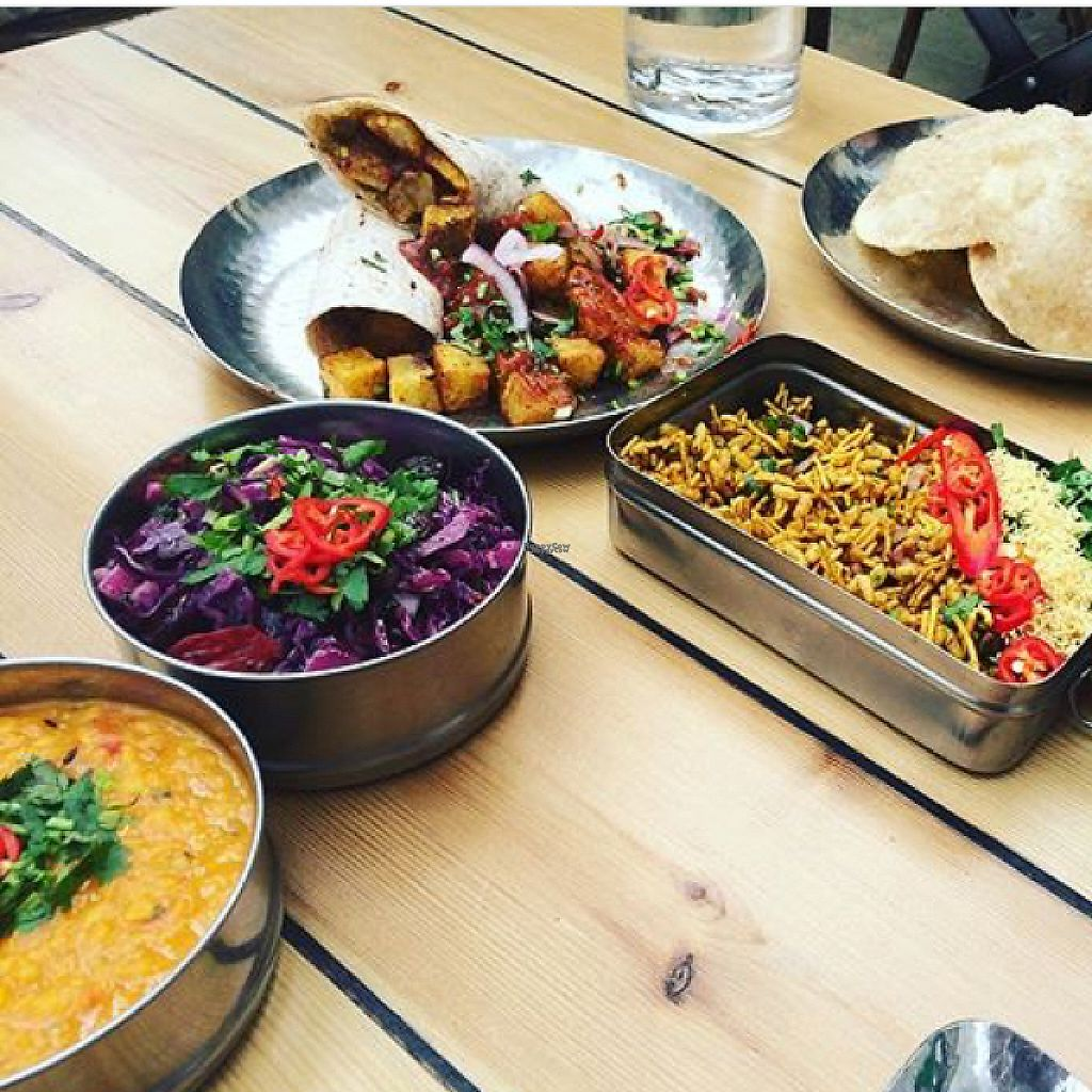 "Photo of Mowgli  by <a href=""/members/profile/SL17"">SL17</a> <br/>A few things from the vegan menu (temple dahl, coleslaw, behl puri, chip butty, puri) <br/> February 9, 2017  - <a href='/contact/abuse/image/64688/224600'>Report</a>"
