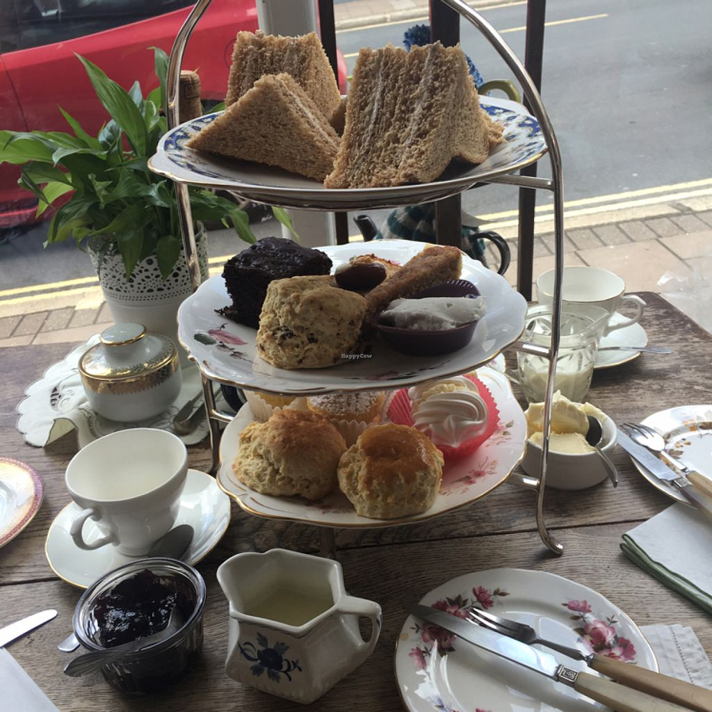 """Photo of Hidden Treasure Tea Room  by <a href=""""/members/profile/KatieBater"""">KatieBater</a> <br/>vegan cream tea - middle tier! <br/> July 2, 2016  - <a href='/contact/abuse/image/64696/157385'>Report</a>"""