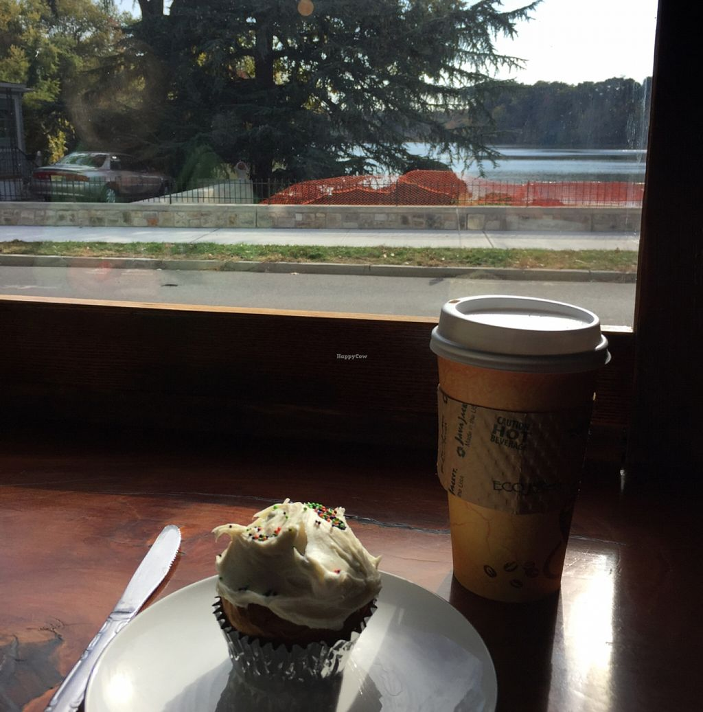"""Photo of The Moth Coffeehouse  by <a href=""""/members/profile/Killertofuuu"""">Killertofuuu</a> <br/>vegan pumpkin spice cupcake and latte!  <br/> October 22, 2015  - <a href='/contact/abuse/image/64726/122214'>Report</a>"""