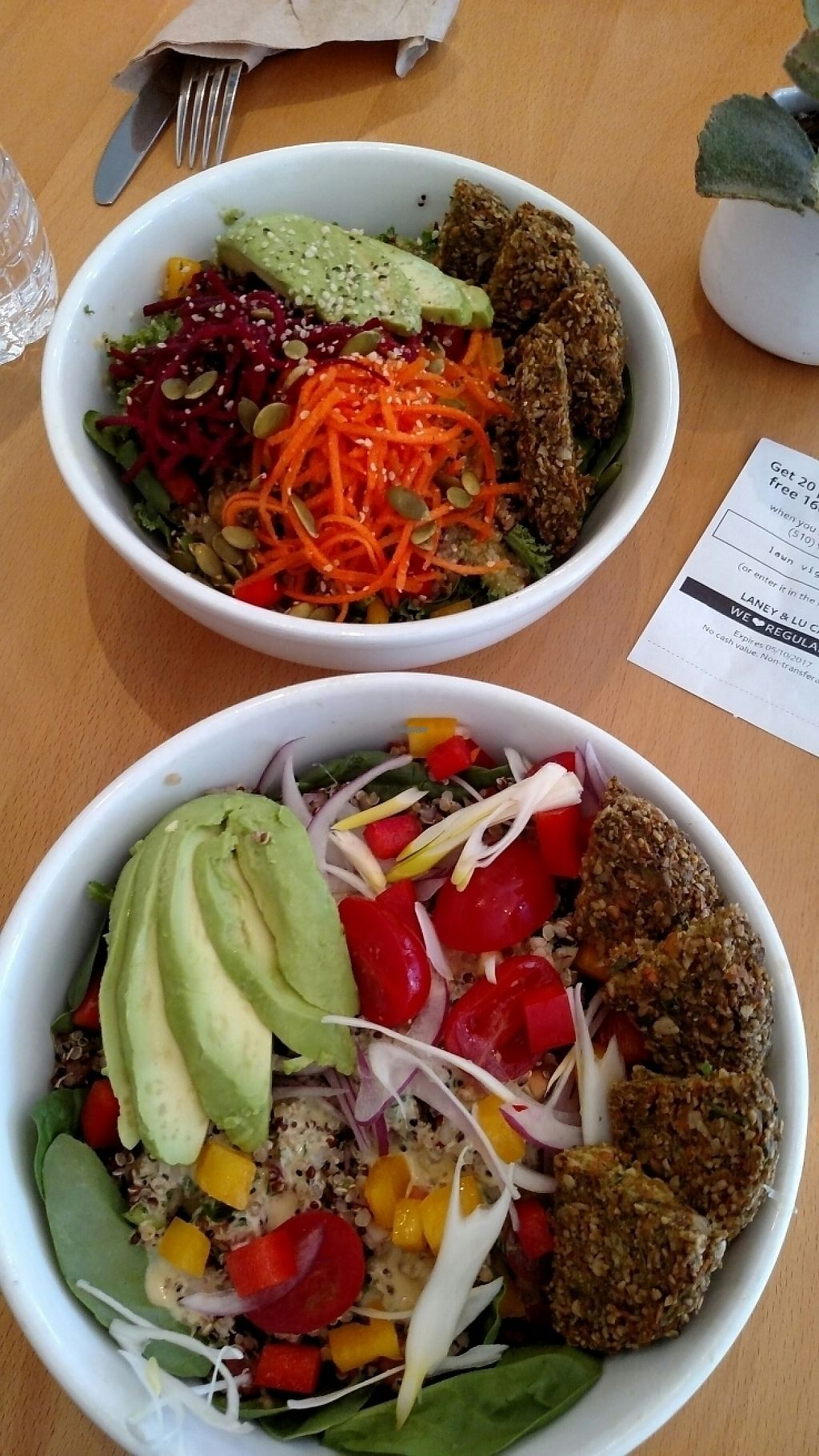"""Photo of Laney & Lu  by <a href=""""/members/profile/monandeclan"""">monandeclan</a> <br/>Kale quinoa bowl & Mediterranean bowl <br/> April 9, 2017  - <a href='/contact/abuse/image/64738/246277'>Report</a>"""
