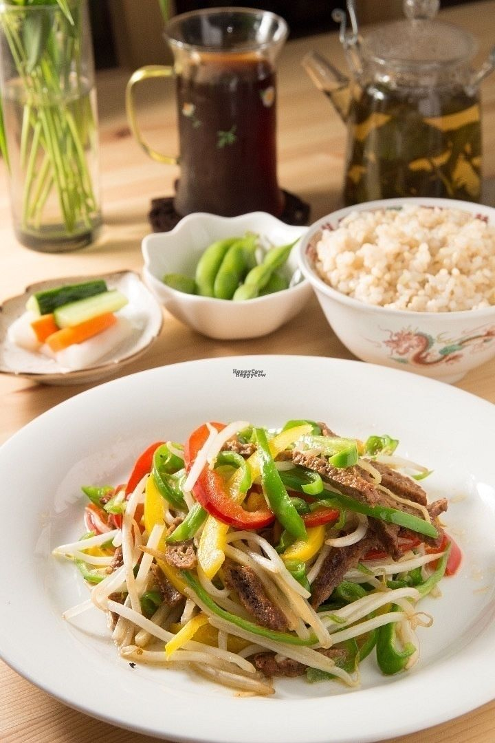 """Photo of CLOSED: Seven Bells Cafe  by <a href=""""/members/profile/Greg%20Meilien%20Winder"""">Greg Meilien Winder</a> <br/>Chin Jow Roe Tsu Set, Green and red peppers, Tofu meat, mixed vegetables. Brown or white rice, Soya Beans pickled vegetables and a choice of tea or coffee <br/> September 4, 2016  - <a href='/contact/abuse/image/64758/173432'>Report</a>"""