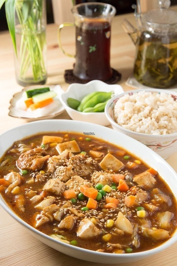 """Photo of CLOSED: Seven Bells Cafe  by <a href=""""/members/profile/Greg%20Meilien%20Winder"""">Greg Meilien Winder</a> <br/>Mar Po Tofu Set, consisting of Tofu, Yamabushi Take (Monkey head Mushrooms) fresh vegetables cooked with healthy spices and black miso. White or brown rice, fresh Soya beans and pickled vegetables. A choice of coffee or tea <br/> September 4, 2016  - <a href='/contact/abuse/image/64758/173433'>Report</a>"""