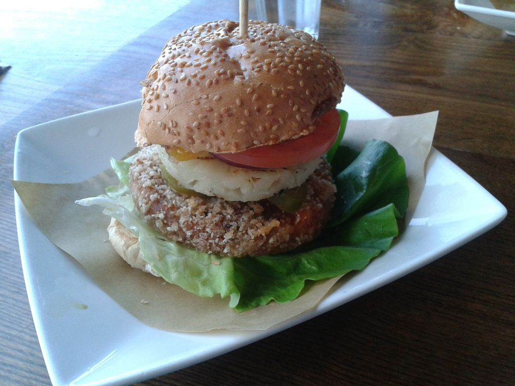 """Photo of Handmade Burger Company  by <a href=""""/members/profile/imogenmichel"""">imogenmichel</a> <br/>Sweet potato and bean burger with pineapple and jalapenos <br/> October 21, 2015  - <a href='/contact/abuse/image/64780/122069'>Report</a>"""