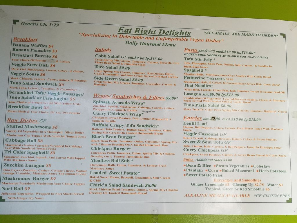 """Photo of Eat Right Delights  by <a href=""""/members/profile/Vegan%20Yoko"""">Vegan Yoko</a> <br/>all menu <br/> November 19, 2017  - <a href='/contact/abuse/image/64793/327014'>Report</a>"""