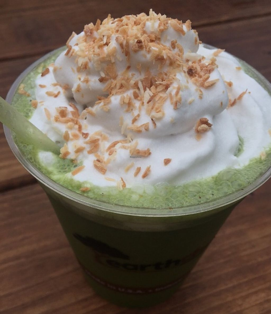 """Photo of Essential Juices and Smoothies - Food Cart  by <a href=""""/members/profile/Arthousebill"""">Arthousebill</a> <br/>Chai smoothie with coconut whip <br/> June 18, 2016  - <a href='/contact/abuse/image/64798/221693'>Report</a>"""