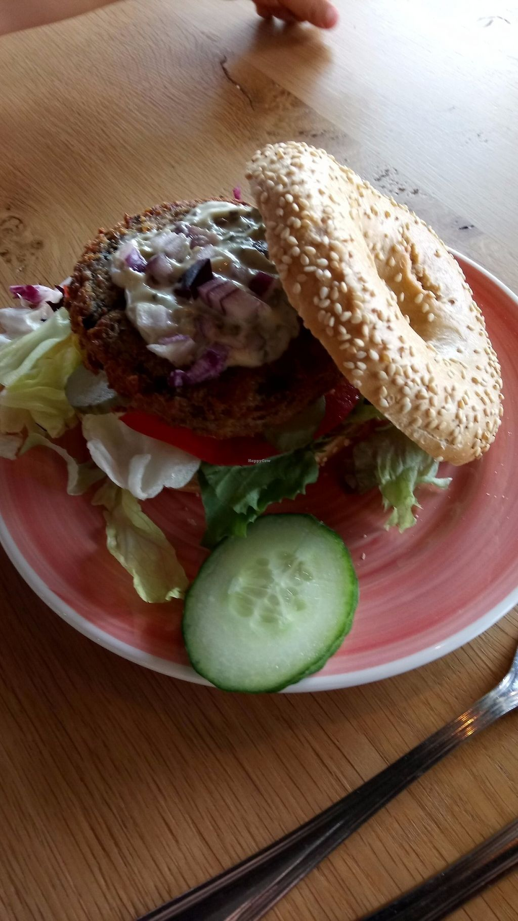 """Photo of Bagels & Beans - Vivaldistraat  by <a href=""""/members/profile/Shama2004"""">Shama2004</a> <br/>The Dutch weed burger (vegan), weed sauce, tomatoes, gherkins, red onions and lettuce. My 4 yo loved it <br/> May 29, 2017  - <a href='/contact/abuse/image/64864/263845'>Report</a>"""