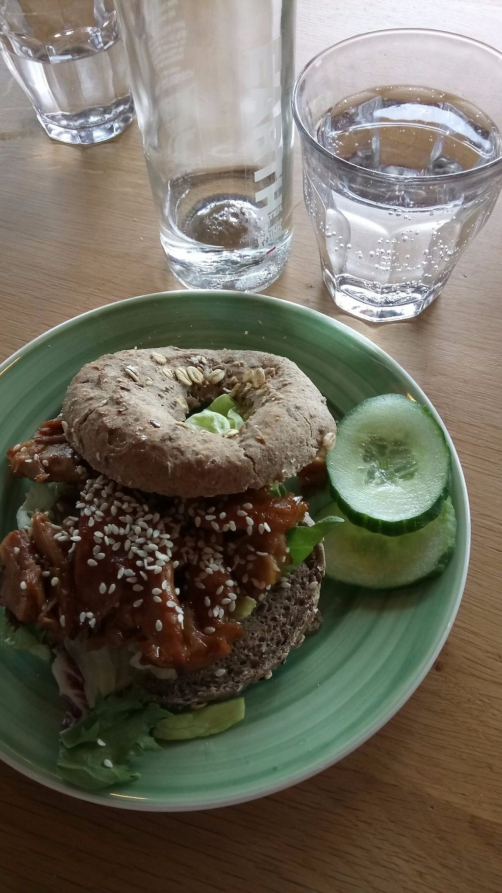 """Photo of Bagels & Beans - Vivaldistraat  by <a href=""""/members/profile/Shama2004"""">Shama2004</a> <br/>Veggie-chiken with coriander, teriyaki sauce, sesami seeds and lettuce <br/> May 29, 2017  - <a href='/contact/abuse/image/64864/263846'>Report</a>"""