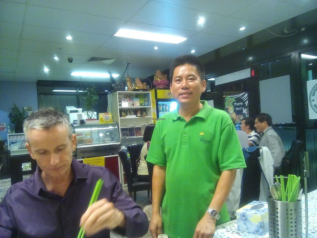 "Photo of Inala Vegan Restaurant  by <a href=""/members/profile/Rico"">Rico</a> <br/>Chin, the owner, with some other guy who squeezed into the shot with his green chopsticks <br/> April 24, 2016  - <a href='/contact/abuse/image/64882/146147'>Report</a>"