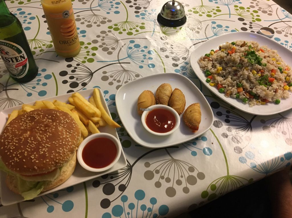 "Photo of Inala Vegan Restaurant  by <a href=""/members/profile/BeeLogea"">BeeLogea</a> <br/>Chicken burger, curry puffs and fried rice! <br/> October 29, 2016  - <a href='/contact/abuse/image/64882/185138'>Report</a>"