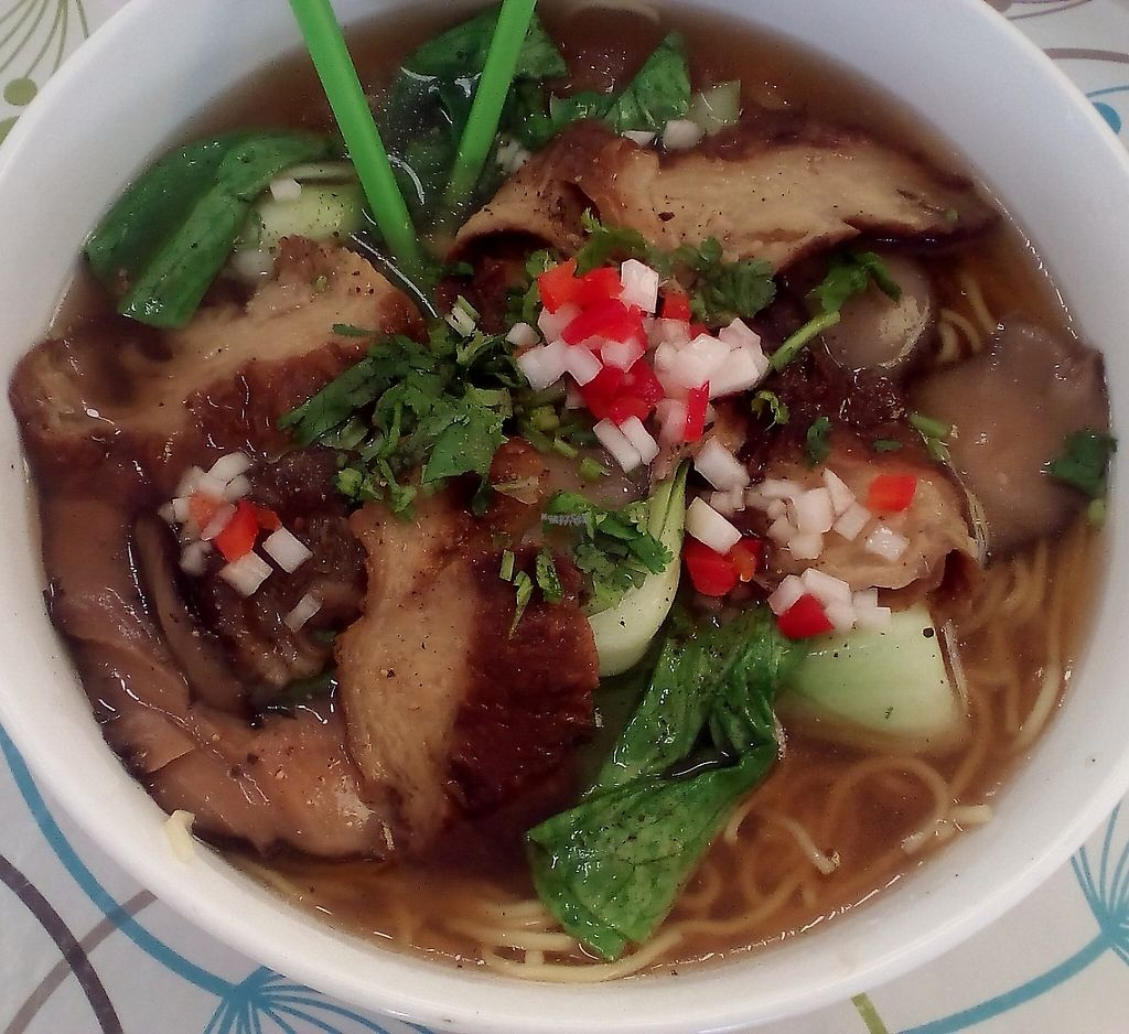 "Photo of Inala Vegan Restaurant  by <a href=""/members/profile/vegan%20mikal"">vegan mikal</a> <br/>Vegan Restaurant Inala - yellow noodle and roast duck soup <br/> January 1, 2017  - <a href='/contact/abuse/image/64882/252395'>Report</a>"