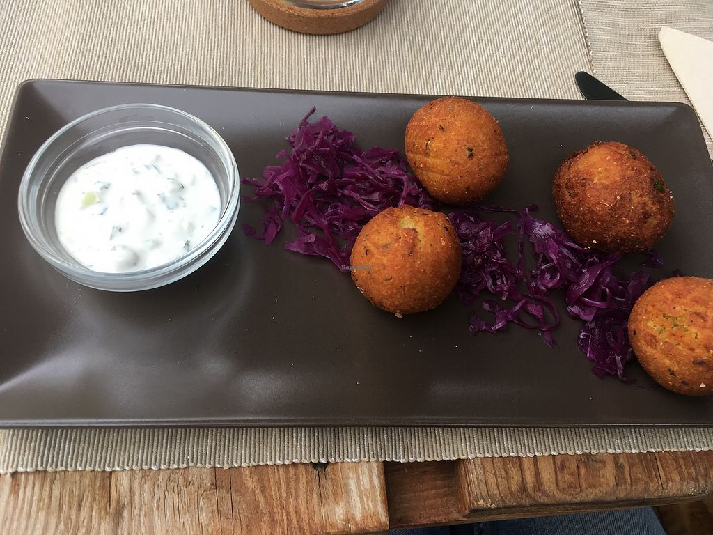 "Photo of Buenavida Vegan  by <a href=""/members/profile/Csctina"">Csctina</a> <br/>Potato croquettes served with red cabbage  <br/> December 29, 2017  - <a href='/contact/abuse/image/64893/340503'>Report</a>"