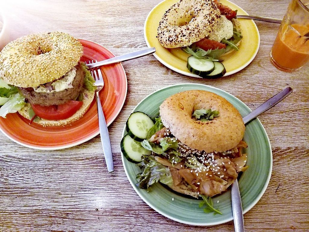 """Photo of Bagels & Beans  by <a href=""""/members/profile/happyowl"""">happyowl</a> <br/>Dutch Weed Bagel (left), Hummus bagel with sundried tomatoes (top right), Vegan teriyaki chick'n bagel (bottom right) <br/> July 16, 2017  - <a href='/contact/abuse/image/64943/281148'>Report</a>"""