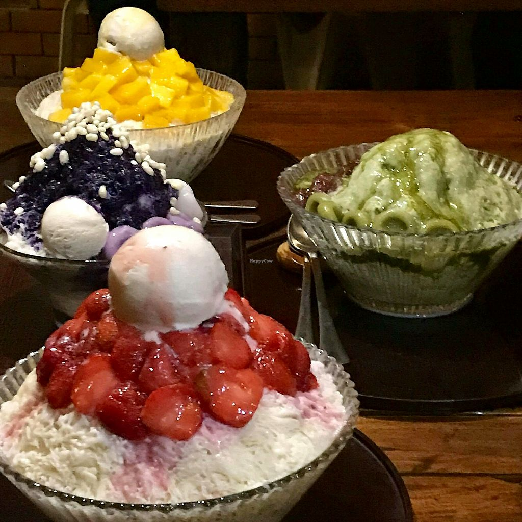 """Photo of Ikigai Kakigori Cafe   by <a href=""""/members/profile/QUEENDIANE"""">QUEENDIANE</a> <br/>Mango, Ube, Matcha, and Strawberry Kakigori. All vegan! <br/> May 1, 2018  - <a href='/contact/abuse/image/64957/393305'>Report</a>"""