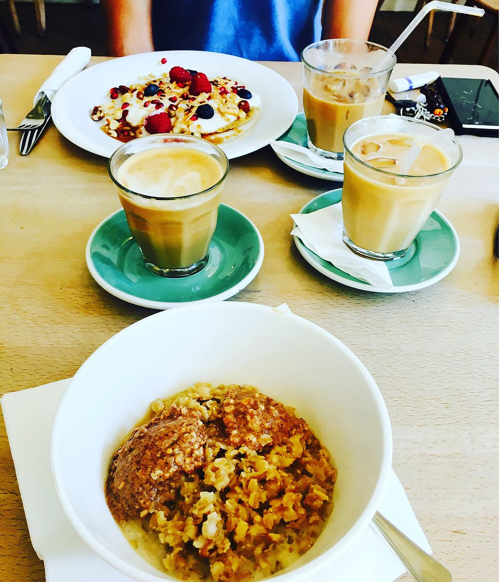 """Photo of Espresso Library  by <a href=""""/members/profile/JamesDowns"""">JamesDowns</a> <br/>Vegan bfast featuring three coffees ? <br/> September 7, 2017  - <a href='/contact/abuse/image/65013/301744'>Report</a>"""