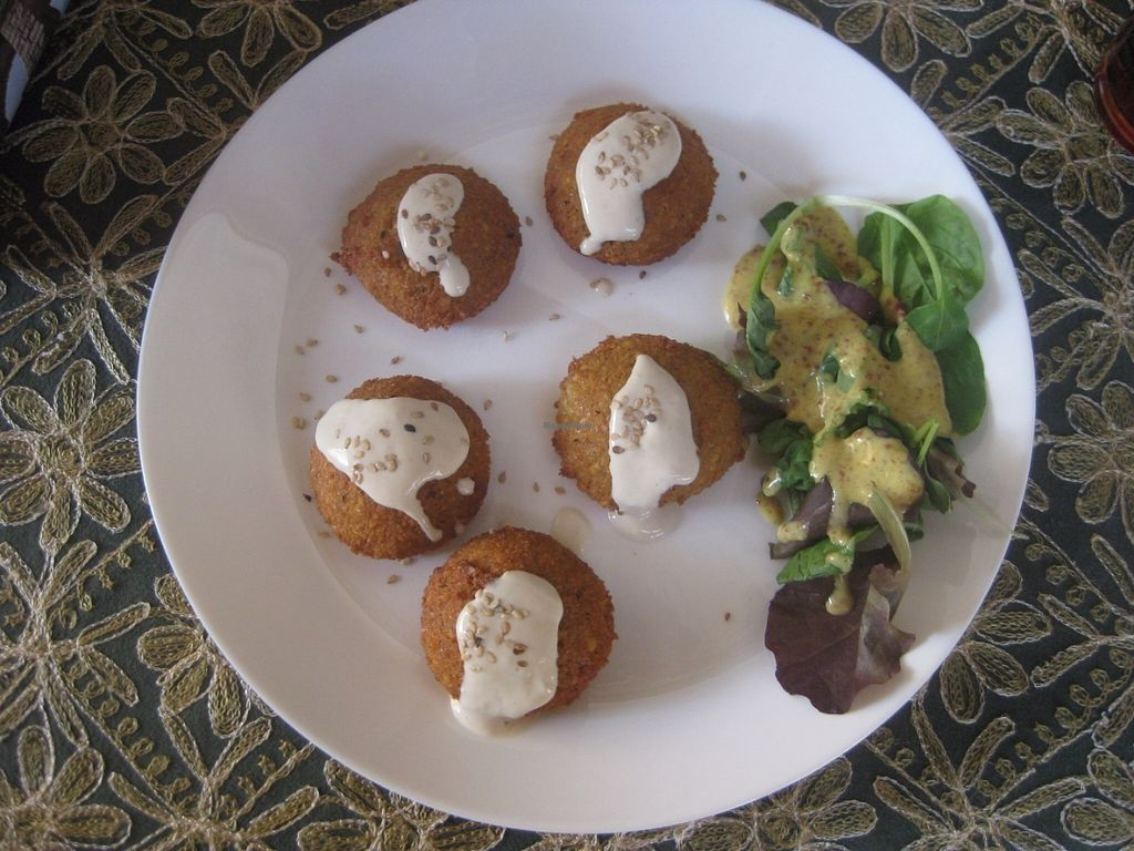 "Photo of Tuma  by <a href=""/members/profile/jennyc32"">jennyc32</a> <br/>Falafel with tahini (vegan) <br/> July 17, 2016  - <a href='/contact/abuse/image/65015/160428'>Report</a>"