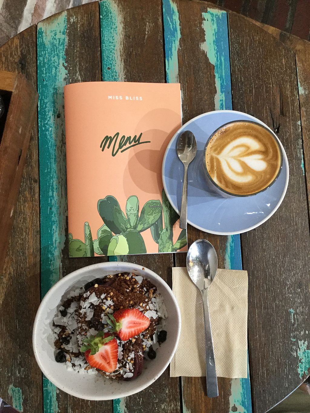 """Photo of Miss Bliss Wholefoods Kitchen  by <a href=""""/members/profile/Mike%20Munsie"""">Mike Munsie</a> <br/>berry bliss + almond latte <br/> March 17, 2018  - <a href='/contact/abuse/image/65037/371642'>Report</a>"""