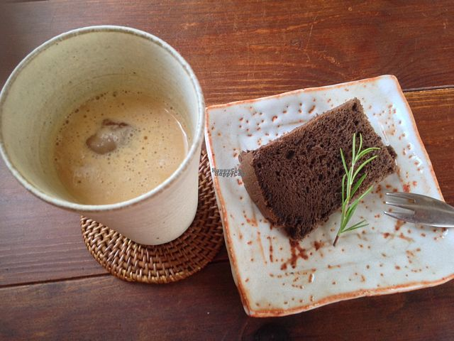 """Photo of Cafe Darbukka  by <a href=""""/members/profile/Keito26"""">Keito26</a> <br/>Chai and chocolate chiffon cake.  <br/> September 10, 2016  - <a href='/contact/abuse/image/65041/174778'>Report</a>"""