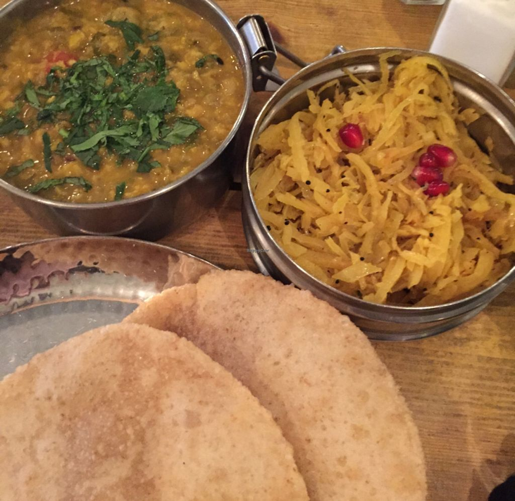 """Photo of Mowgli - Bold St  by <a href=""""/members/profile/njeni"""">njeni</a> <br/>Ginger and rhubarb dahl and Calcutta tangled greens with puri <br/> February 26, 2016  - <a href='/contact/abuse/image/65042/137847'>Report</a>"""