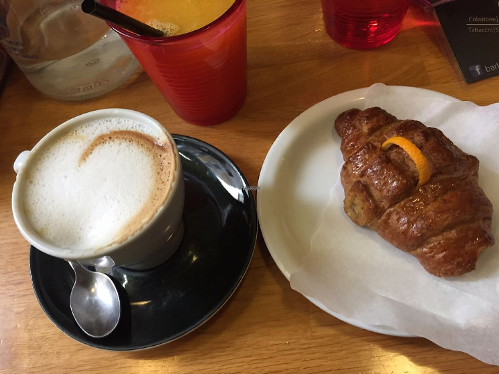 """Photo of La Licata  by <a href=""""/members/profile/shineonyou"""">shineonyou</a> <br/>vegan breakfast- soy cappuccino, orange juice, croissant  <br/> December 19, 2016  - <a href='/contact/abuse/image/65057/203031'>Report</a>"""
