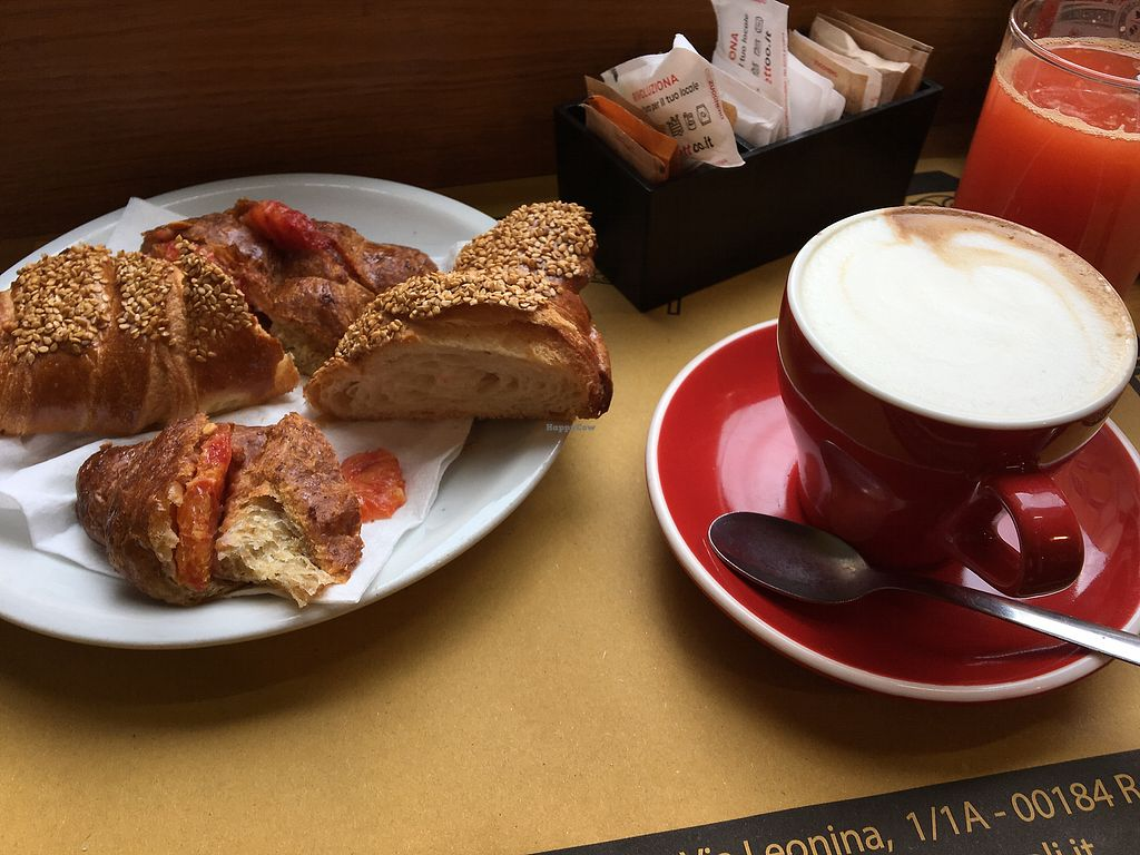 """Photo of La Licata  by <a href=""""/members/profile/isaa"""">isaa</a> <br/>Vegan breakfast: 2 flavors croissant (seeds and orange), orange juice, coffee (cappuccino with soy milk) <br/> February 6, 2018  - <a href='/contact/abuse/image/65057/355687'>Report</a>"""