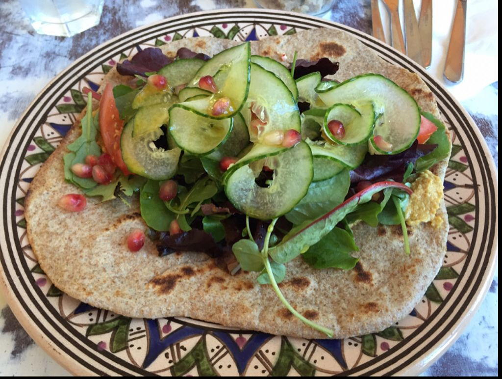 """Photo of Shanti Cafe  by <a href=""""/members/profile/DonnaC"""">DonnaC</a> <br/>humous and salad with flatbread  <br/> June 25, 2016  - <a href='/contact/abuse/image/65076/156047'>Report</a>"""