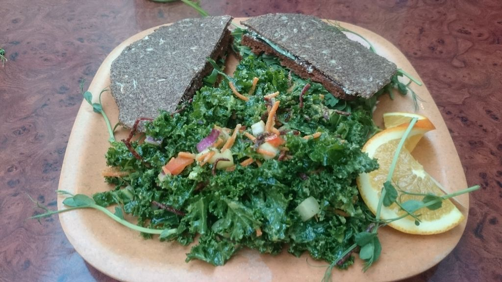 """Photo of Go Vegan Cafe  by <a href=""""/members/profile/chb-pbfp"""">chb-pbfp</a> <br/>Raw Portobello Burger with kale salad <br/> April 17, 2018  - <a href='/contact/abuse/image/65093/387349'>Report</a>"""